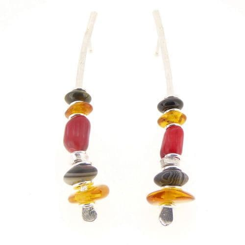 Sea bamboo & amber earrings sterling silver black onyx large arc shape